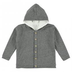 Sudadera con botones y capucha gris